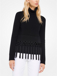 Michael Kors Fringed Turtleneck Pullover
