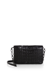 Nancy Gonzalez Black Shiny Wallet on a Chain