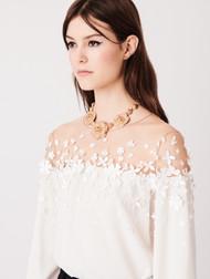 Oscar de la Renta Illusion-yoke Silk Blouse with Floral Appliques