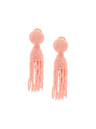 Oscar de la Renta Short Tassel Earrings with Bloom Glass Beads