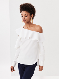 Oscar de la Renta Silk Georgette Cold Shoulder Ruffle Blouse