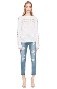 Jonathan Simkhai White Lacy Crochet Sweater