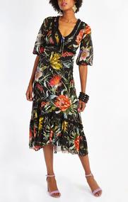 Fuzzi Floral Print Loose-Fit Dress