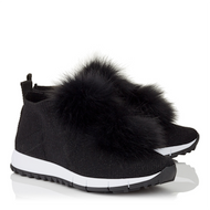 Jimmy Choo Norway Black Knit and Lurex Trainer with Fur Pom Poms