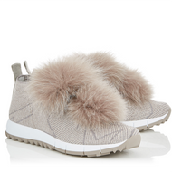 Jimmy Choo Norway Opal Grey Knit and Lurex Trainer with Fur Pom Poms