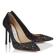 Jimmy Choo Romy Black Glitter Spotted Velvet Pointy Toe Pump