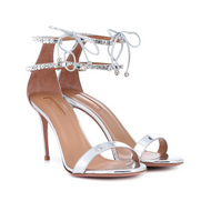 Aquazzura Crillon Mirror Leather Strappy Sandal with Crystal Detail