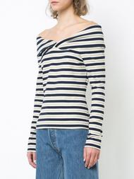 Oscar de la Renta Striped Off-The-Shoulder Blouse