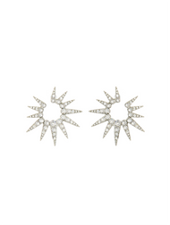 Oscar de la Renta Silver-Tone Small Pavé Sea Urchin Earrings