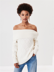 Oscar de la Renta Off-The-Shoulder Cable Knit Pullover