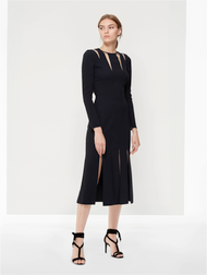 Oscar de la Renta Black Stretch Cocktail Dress with Cut-Out Detail