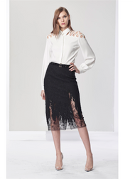 Oscar de la Renta Silk Georgette Blouse with Lattice Embroidered