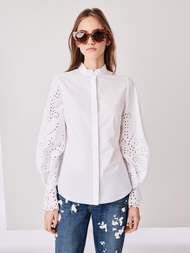 Oscar de la Renta Scalloped Embroidered Cotton Blouse