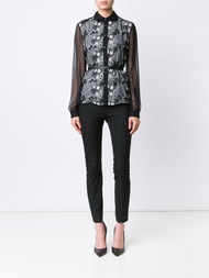 Oscar de la Renta Sheer Long Sleeve Lace Crochet Blouse