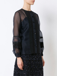 Oscar de la Renta Sheer Balloon Sleeve Blouse with Cami