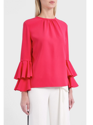 Oscar de la Renta Stretch Silk Georgette Ruffled Bell Sleeve Blouse