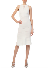 Jonathan Simkhai Link Ribbed Asymmetric Ivory Dress