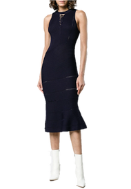 Jonathan Simkhai Link Ribbed Asymmetric Midnight Dress
