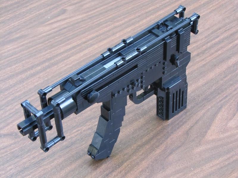 how to build a lego mini machine gun