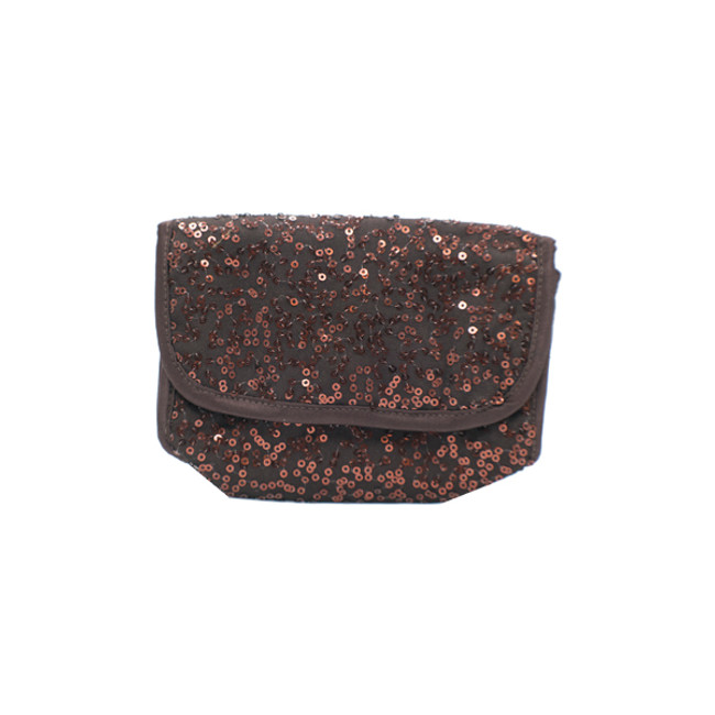 Chocolate Bag with Rose Gold/Copper Sequin