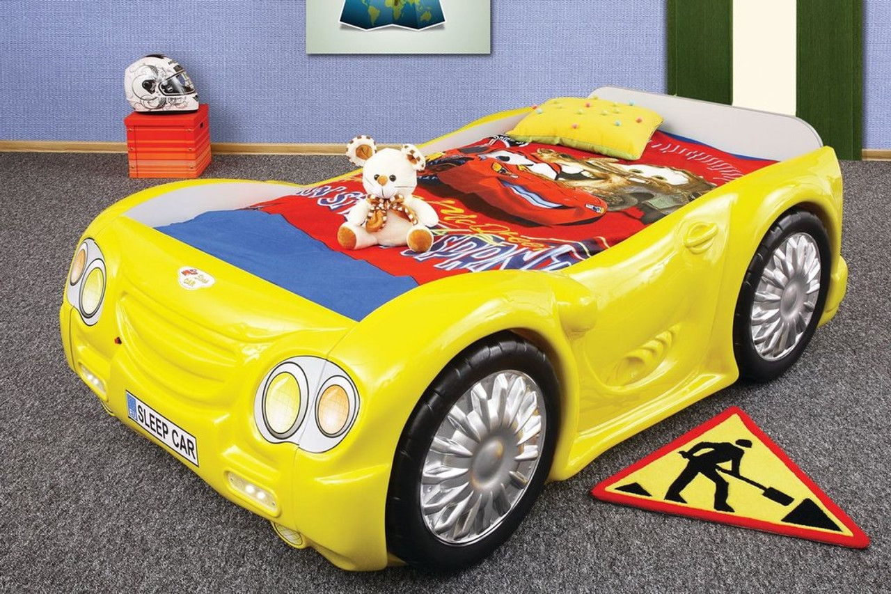 sleep car bed for kids yellow