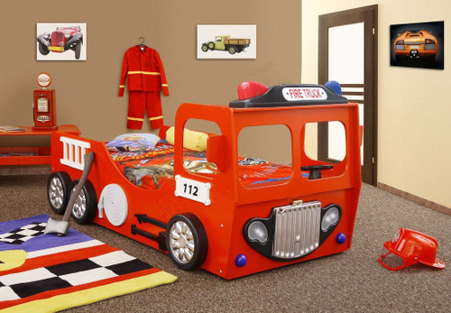 fire truck bed eco materials durable wooden frame slabs red - Truck Bed Frame