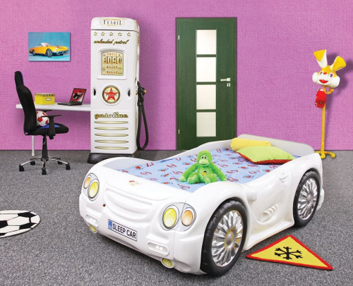 sleep car bed for kids white