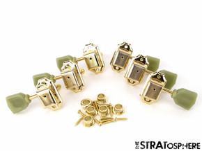 *NEW Vintage Style 3x3 TUNERS for Guitar Gibson Les Paul SG Keystone Gold
