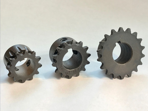 """12, 15 or 18 tooth #219 driver sprocket with 3/4"""" bore. 12 tooth has broached 3/16"""" key, 15 tooth and 18 tooth come with separate 3/16"""" key.  12mm adapter required to fit these sprockets to 12mm diameter shafts."""