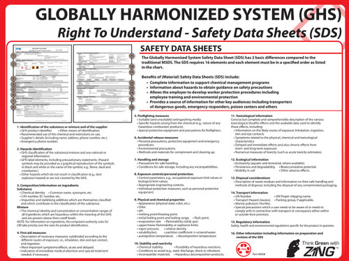 Sds training poster ghs hazcom zing green products for Osha sds template