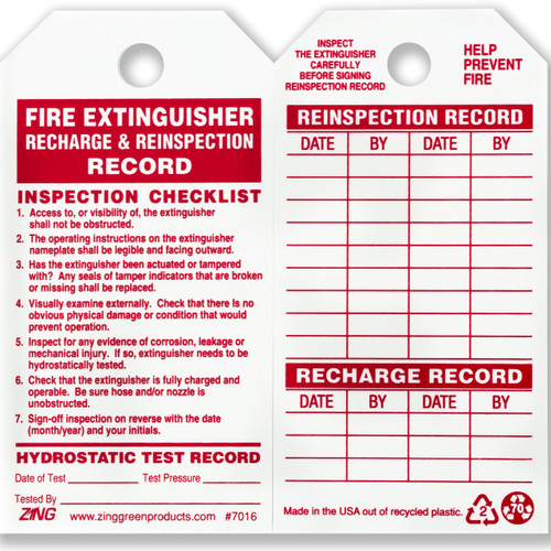 Fire Extinguisher Inspection Tags 10 Pk Zing Green Products