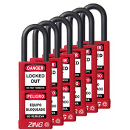 Padlock, Keyed Alike Set (6), Red