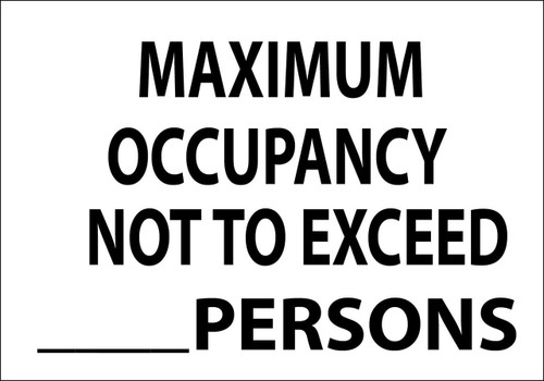 maximum occupancy not to exceed sign