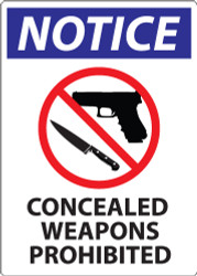 Notice, Concealed Weapons Prohibited