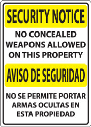 Security Notice, No Concealed Weapons Allowed On This Property/Aviso De Seguridad, No Se Permite Portar Armas Ocultas En Esta Propiedad