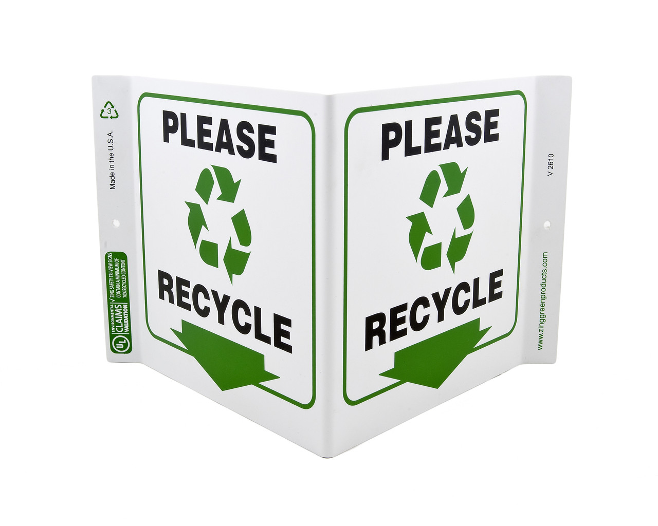 please recycle sign projects 5quot vshape zing