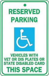 Handicapped, Disabled, Veterans, Parking Sign