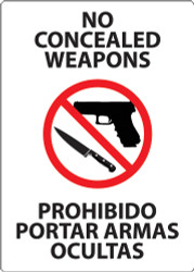 No Concealed weapons Sign, Billingual
