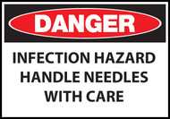 Danger sign, Infection Hazard Handle Needles With Care
