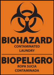 Danger sign, Biohazard, contaminated laundry, bilingual