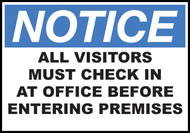 Notice Sign Visitors Must Check In