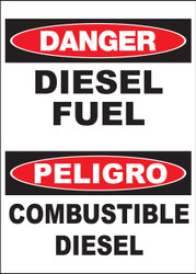 "Zing Bilingual Agriculture Sign, Danger Diesel Fuel, 14 H""x 10 W"", Available in Different Materials"