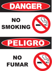 "Zing Bilingual Agriculture Sign, Danger No Smoking, 14 H""x 10 W"", Available in Different Materials"