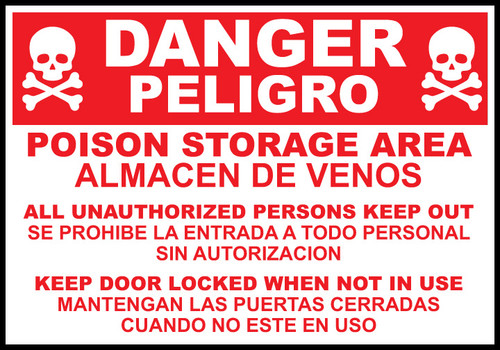 Danger sign poision storage area englishspanish zing danger poison storage area sign click to enlarge publicscrutiny Image collections