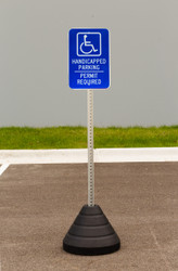"""Zing """"Handicapped Parking, Permit Required"""" Sign Kit Bundle, with Base and Post"""