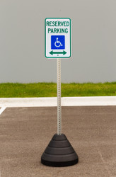 """Zing """"Handicapped Reserved Parking, with Double Arrow"""" Sign Kit Bundle, with Base and Post"""
