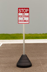"""Zing """"Stop For Pedestrian In Crosswalk"""" Sign Kit Bundle, with Base and Post"""