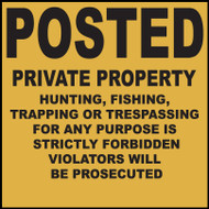 "Zing Agriculture Sign, Posted Private Property, 11"" x 11"", Recycled Plastic"