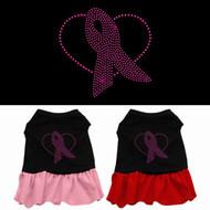 Pink Ribbon Rhinestone Dog Dress