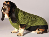 Cable Knit Dog Sweater- Sage Green